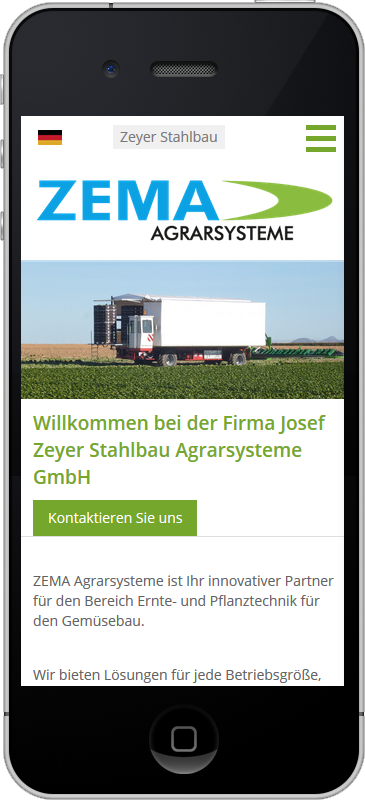 Zeyer Agrarsysteme - Mobile Webseite