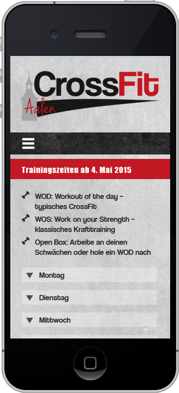 CrossFit Aalen - Mobile Webseite